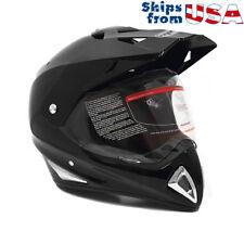 Helmet Off Road Motorcycle Dirt Bike ATV - FlipUp Visor Glossy Black (XLarge)