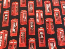 Nutex - Britannia - Red Telephone Boxes On Black Background 100% Cotton Fabric