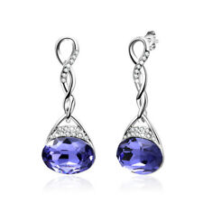 Women's Wedding Bridal Made With Swarovski Crystals Purple Silver Earring IE5