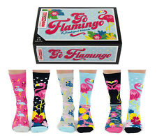 UNITED ODDSOCKS GO FLAMINGO SIX WILD FUNKY ODD SOCKS LADIES UK 4 - 8 GIFT BOXED