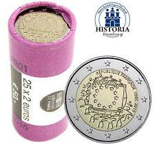 25 Francia 2 monete metalliche in euro 30 anni bandiera Europa 2015 timbro lucentezza in ruolo
