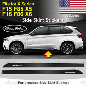 For BMW F15 F16 F85 F86 X Series M Performance Side Skirt GLOSS Decal Sticker US