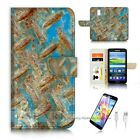 ( For Samsung S5 ) Wallet Case Cover P6483 Rusty Iron