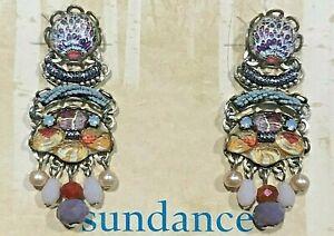 """NEW Sundance Catalog 1 1/2"""" Art Paper Multi Sterling Silver Post Earrings NWT"""