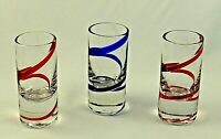 "Swirline COBALT BLUE RED by Pier 1 One - CORDIAL GLASSES  3 1/2"" - Set of 3"