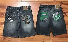 2 Toddler 3T Ecko Unltd Boys Jeans Black Shorts Stitched Green Design