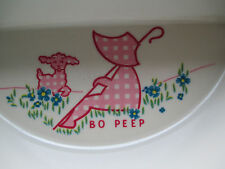 Vintage 1940's Pink Bo Peep With Lambs Child's Serving Dish that stays Warm