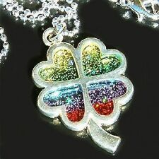 Rainbow Glitter ~4 LEAF CLOVER~ SHAMROCK Lucky Charm Irish Pendant Necklace Gift