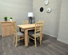 Set of Extending Dining Table and 4 Wooden Chairs Strong Solid Oak Sonoma Marp