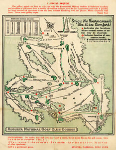 1954 Map Augusta Masters National Golf Club Start Time Sheet Wall Art Décor
