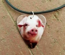 his hers cute love country farm girl Pig Hog guitar pick black necklace jewelry
