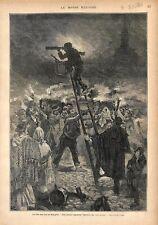 Fête des Rois en Espagne Gallegos échelle Rois Mages Prêtre GRAVURE PRINT 1876