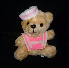 "7"" VINTAGE WONDER TOYS SAILOR PINK TAN BABY TEDDY BEAR STUFFED ANIMAL PLUSH TOY"