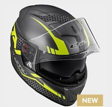 CASCO HELMET INTEGRALE FF390 BREAKER SPLIT MATT TITANIUM YELLOW LS2 SIZE XXL