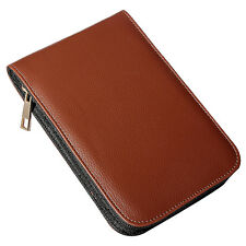 Fountain Pen Roller Brown Leather Binder Case Holder Stationery for 12 Pens