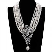 Fashion Pearl Necklace Women Crystal Pendant Chain Chunky Statement Bib Jewelry