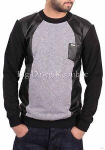 Men/'s D-Rock Polo Sweatshirts Jumper Long Sleeve Top Pocket Black Grey Charcoal