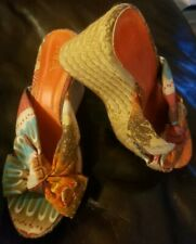 MIA RITA Womens Espadrilles Wedge Heels Aztec Mexican Print OpenToe Size 8.5M