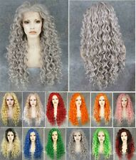 "Synthetic 26"" Front Lace Wig long curly wavy grey.red orange pink blue purple"