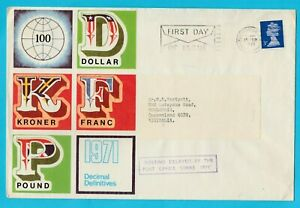 UK Decimal Definitives FDC 71 Posted to Australia Delayed by Post Office Strike