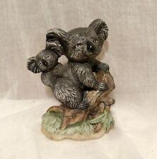 Lefton China Hand Painted Dark Gray Koala Bear & Baby Figurine Sculpture