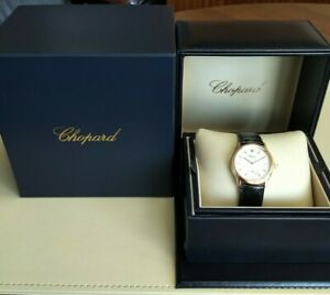 CHOPARD CLASSIQUE 16-1168 18CT YELLOW GOLD STRAP WATCH  WHITE DIAL  SERVICED BOX