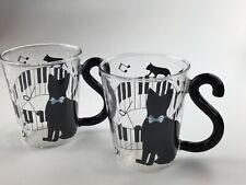 CAT GLASS TEA COFFEE PIANO MUSIC MUGS