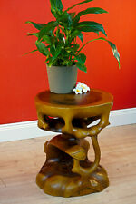 Teakwood Side Table Solid Wood Table Flower Stand Carved Bali Furniture Wood