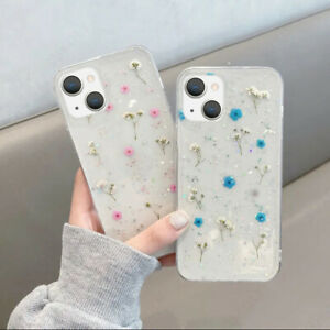 Glitter Flower Phone Case For iPhone 13 12 11 Pro Max XS XR 8 7 Soft Clear Cover