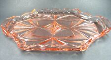 Vintage Art Deco Pink Pressed Glass Dressing Table Tray