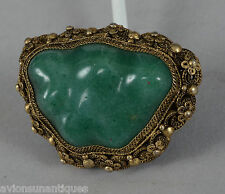 c1920-30 Chinese Gold Gilded Silver filigree and Green Jade Brooch