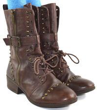 4b9e15014de9 Gianni Bini Brown Boots Leather Studded Lace Up Buckle Zipper Women's Sz  9.5 M