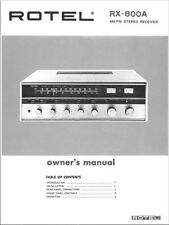 Rotel RX-800A Receiver Owners Instruction Manual