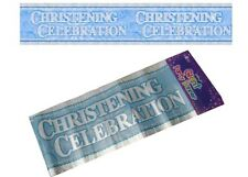 9ft Long Extra Wide Boy's Christening Holographic Foil Banner - New & Sealed