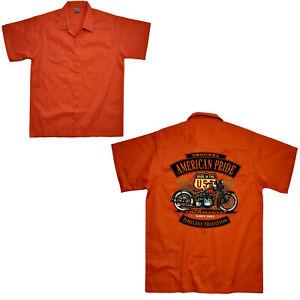 Motard Chemise Moto Garage Travailleur Harley-Motiv USA Atelier 4260 Orange