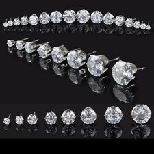 Ohrstecker Ohrringe Zirkonia Kristall 4,5,6,7 und 8 mm Farbe  Silber S111