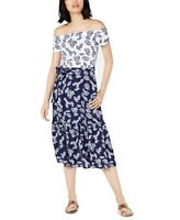 Maison Jules Women's Dress Blue Size 8 Leaf Print Belted Midi Sheath $79 #140