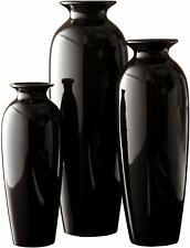 Set of 3 Black Ceramic Vases