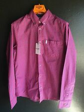 Ben Sherman Gingham Shirt Regular Fit, Coral Red, Size S