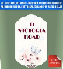 Wheelie Bin Stickers Personalised Custom Name/Number Flower Butterfly 4 Pack