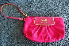 Coach Pink & Gold Satin & Leather Amanda Clutch Wristlet Handbag Purse #42032