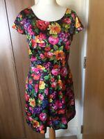 "LOUCHE Black Multi Floral Print Dress Sz M 12 14 L36"" OPEN BACK Pockets B12"