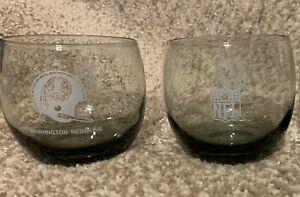 """Vintage NFL """"Redskins"""" Cocktail Glasses (2) Tinted Smoke Roly Poly (ESTATE SALE)"""
