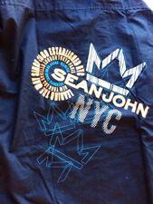 Sean Jean Men Dress Shirt Blue Long Sleeve Graphic Printed Porter XXL Cotton