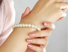 Womens Elegant Glossy 8mm Faux Pearl Beads Stretch Bracelet Bangle Wedding  TOCA
