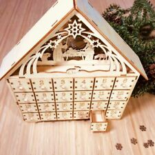 Wooden Christmas Countdown Advent Calendar With LED light Christmas Ornaments