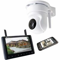 Digital Wireless Pan Tilt CCTV Camera Kit with LCD Monitor & Mobile Access