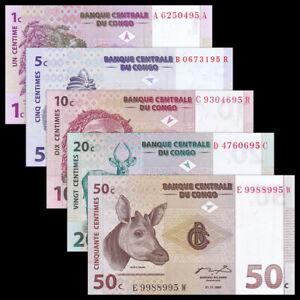 Set 5 PCS, Congo Democratic Republic 1 5 10 20 50 Cents, 1997, P80-84, UNC
