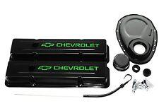 SBC Black Engine Dress-Up Kit w/ Lime Green Chevrolet Valve Covers, Breather