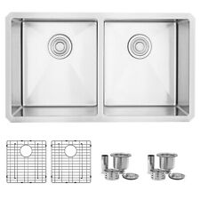 "32""L x 18""W Stainless Steel Double Basin Undermount Kitchen Sink"
